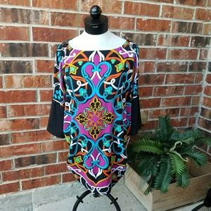 🌹 Nicole Miller Ruched Colorful Top Blouse